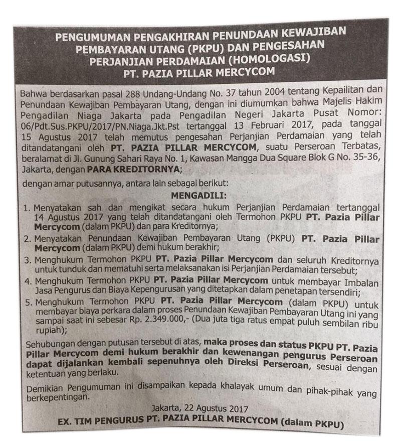 Pengumuman Masa dan Status PKPU PT. Pazia